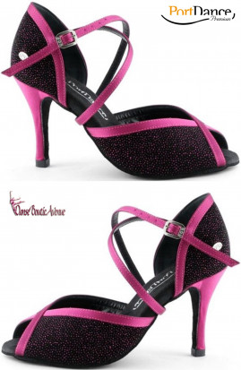 PORT DANCE SALSA TANGO PD500 BLACK FUSHIA GLITTER