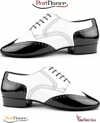TANGO SHOES WHITE BLACK PD042 PORT DANCE MENS